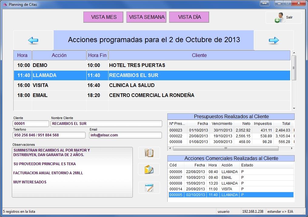 CRM de gestión y control de clientes