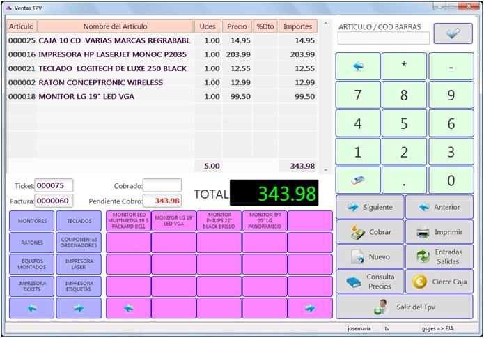 TPV para ventas tactil o con lector de codigos de barras